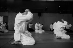 Students preparing for a martial arts class